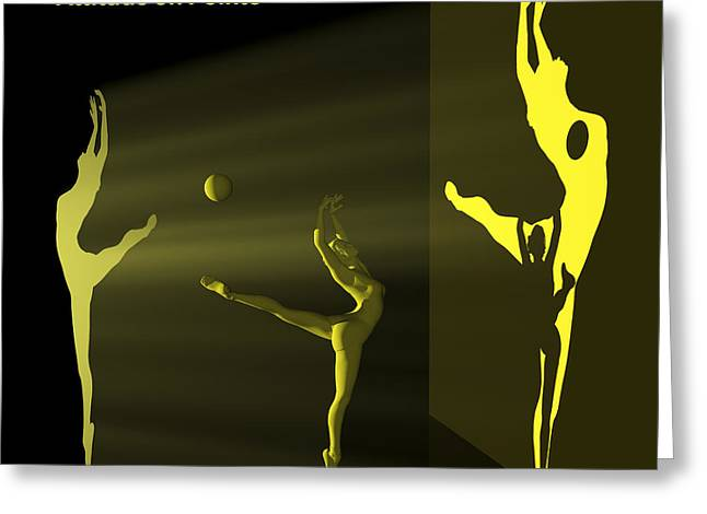 Ballerina Light Art - Yellow Greeting Card by Andre Price