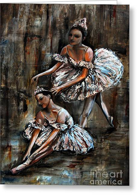 Pallet Knife Greeting Cards - Ballerina Greeting Card by Nancy Bradley