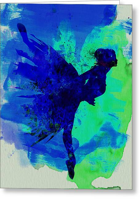 Ballerina On Stage Watercolor 2 Greeting Card by Naxart Studio