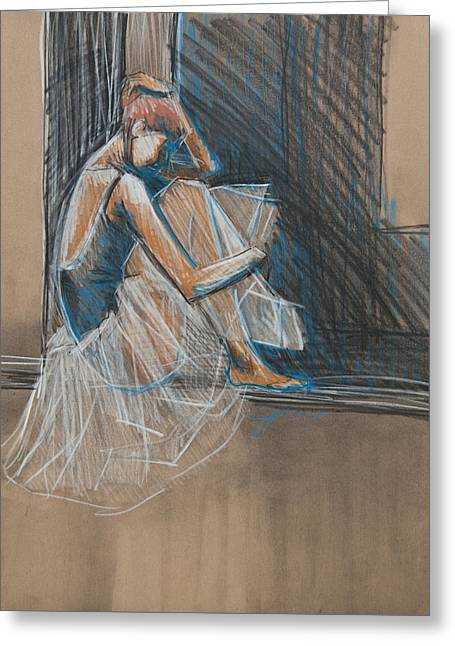 Inner Turmoil Ballerina Sketch Greeting Card by Jani Freimann