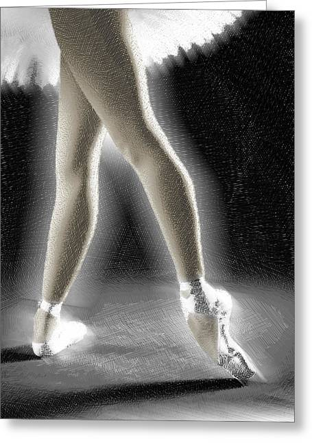 Ballet Dancer Legs Color Greeting Card by Tony Rubino
