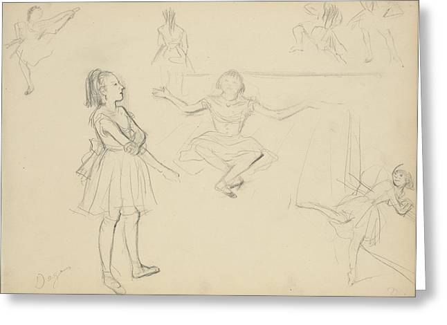 Ballet Dancers Rehearsing Edgar Degas, French Greeting Card by Litz Collection