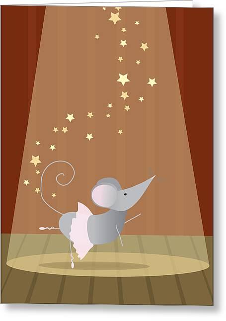 Ballet Mouse Nursery Art Girl Greeting Card