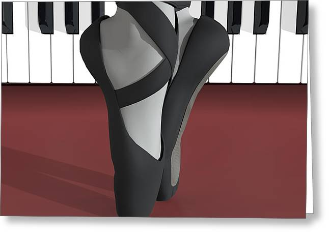 Ballet Toe Shoes Over Royal Red And Piano Keys Greeting Card by Andre Price