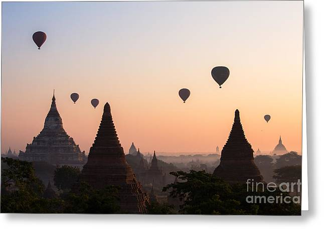 Ballons Over The Temples Of Bagan At Sunrise - Myanmar Greeting Card