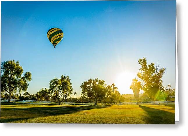 Greeting Card featuring the photograph Balloon At Sunset by Alex Weinstein