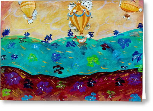 Balloon Ride Greeting Card by Jessica Marin-feliciano