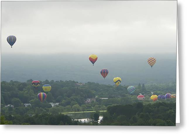 Balloon Rise Over Quechee Vermont Greeting Card