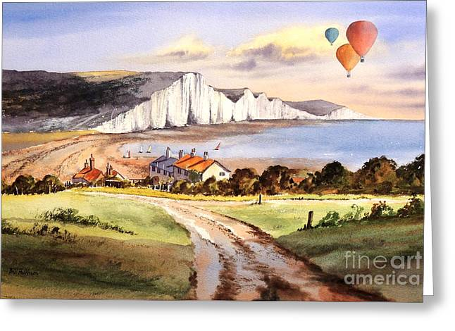 Ballooning Over The Seven Sisters Greeting Card by Bill Holkham