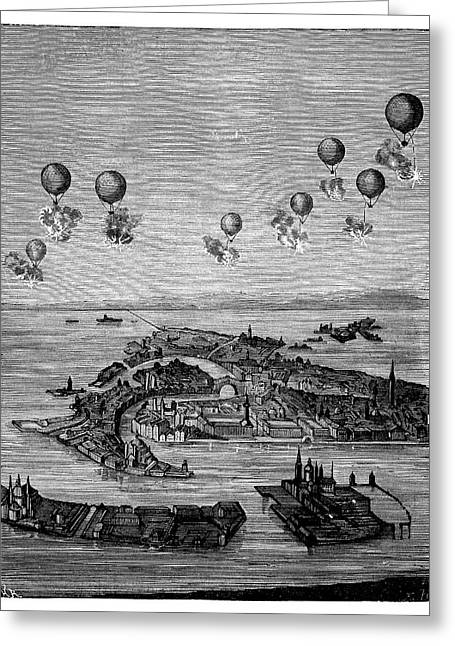 Balloons Bombing Venice Greeting Card by Science Photo Library
