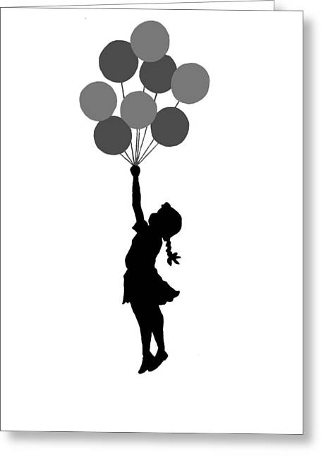 Balloons Girl Greeting Card