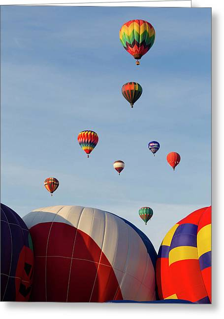 Balloons Lifting For The Mass Ascension Greeting Card by Maresa Pryor