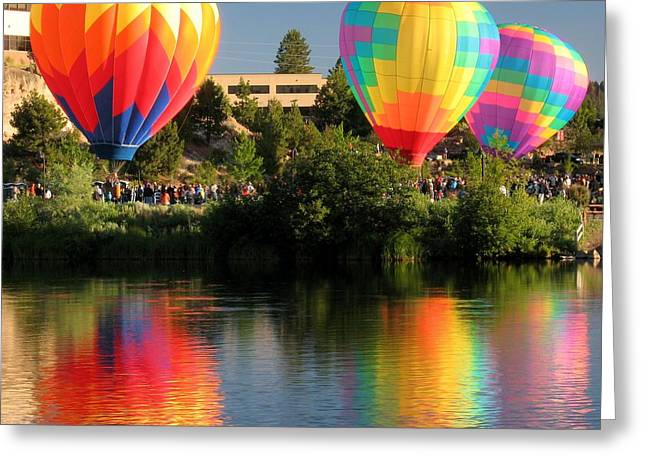Greeting Card featuring the photograph Balloons Over Bend Oregon by Kevin Desrosiers