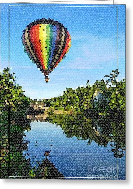 Balloons Over Quechee Vermont Stain Glass Greeting Card by Edward Fielding