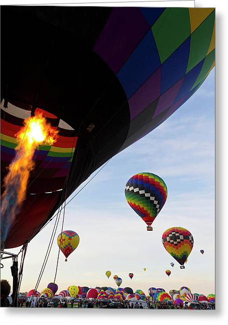 Balloons Preparing To Leave Greeting Card by Maresa Pryor