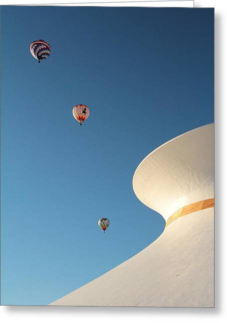 Balloons Race Over The Planetarium Greeting Card by Scott Rackers