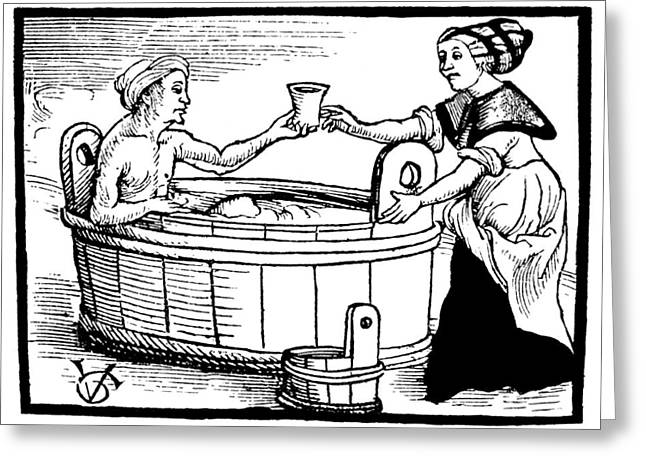 Balneology, Open-air Bath, 1508 Greeting Card by Wellcome Images