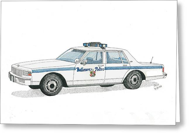 Baltimore City Police Vehicle Greeting Card by Calvert Koerber