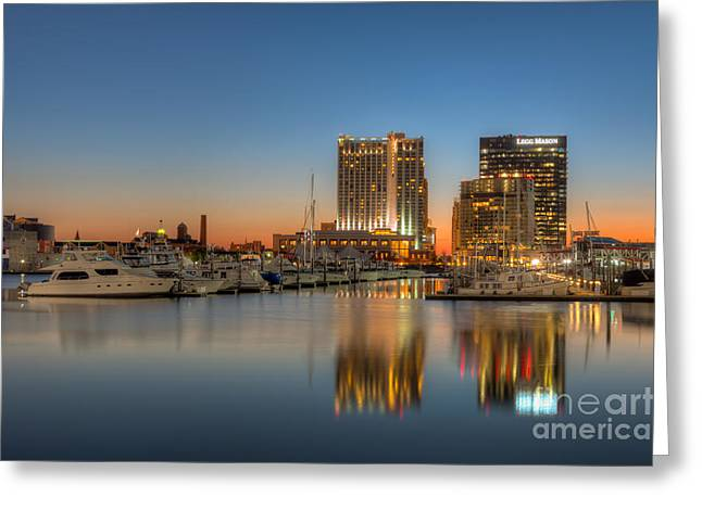 Baltimore Inner Harbor East Skyline At Dawn I Greeting Card by Clarence Holmes