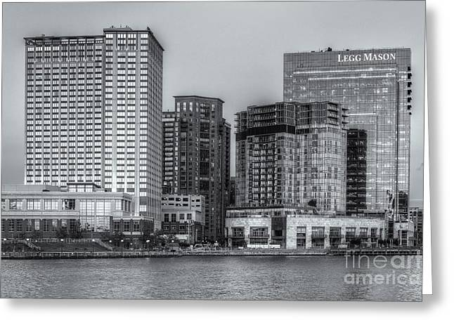 Baltimore Inner Harbor East Skyline At Twilight II Greeting Card by Clarence Holmes