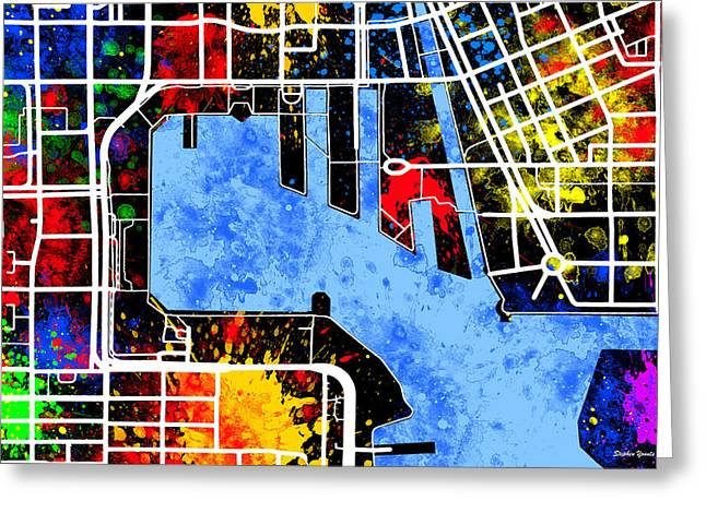 Baltimore Inner Harbor Map Greeting Card by Stephen Younts