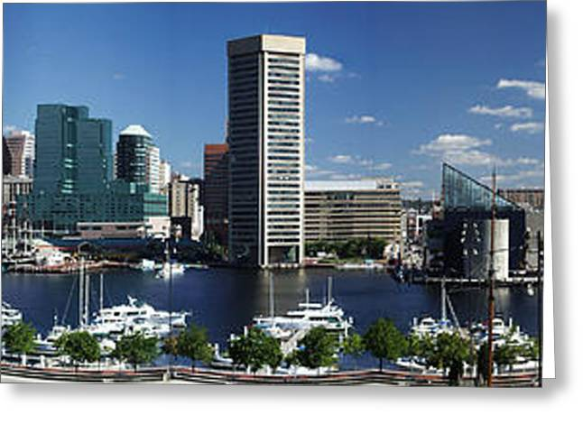 Greeting Card featuring the photograph Baltimore Inner Harbor Panorama by Bill Swartwout