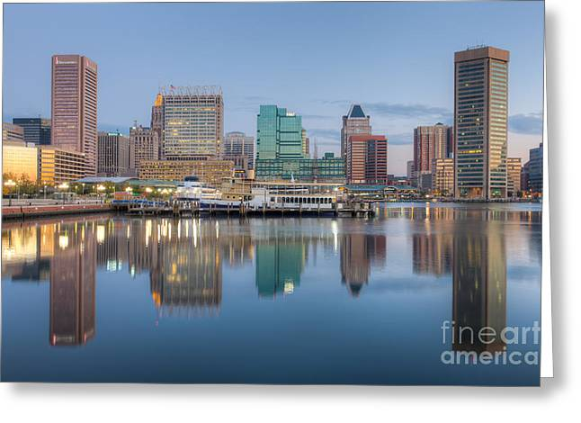 Baltimore Inner Harbor Skyline At Dawn I Greeting Card by Clarence Holmes