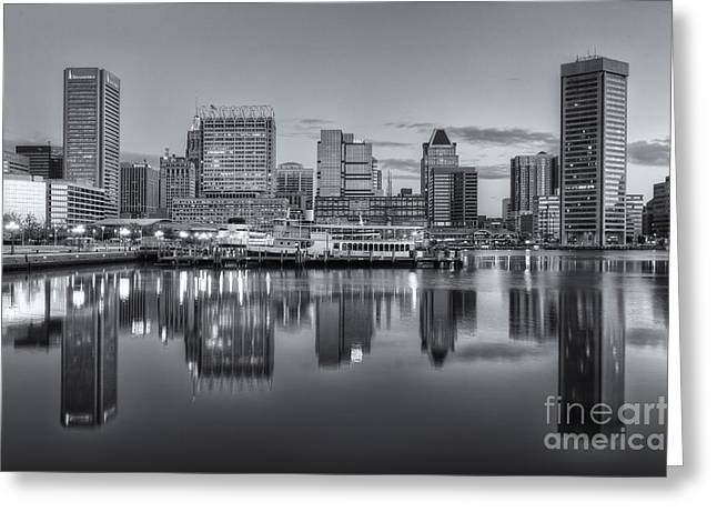 Baltimore Inner Harbor Skyline At Dawn IIi Greeting Card by Clarence Holmes