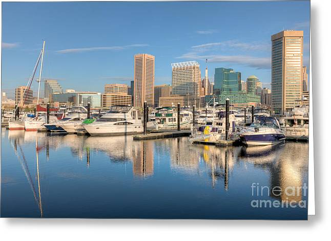 Baltimore Inner Harbor Skyline II Greeting Card by Clarence Holmes