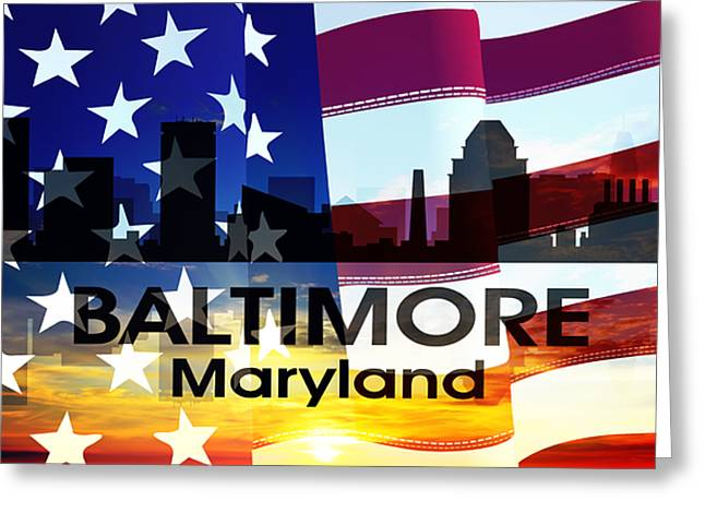 Baltimore Md Patriotic Large Cityscape Greeting Card by Angelina Vick