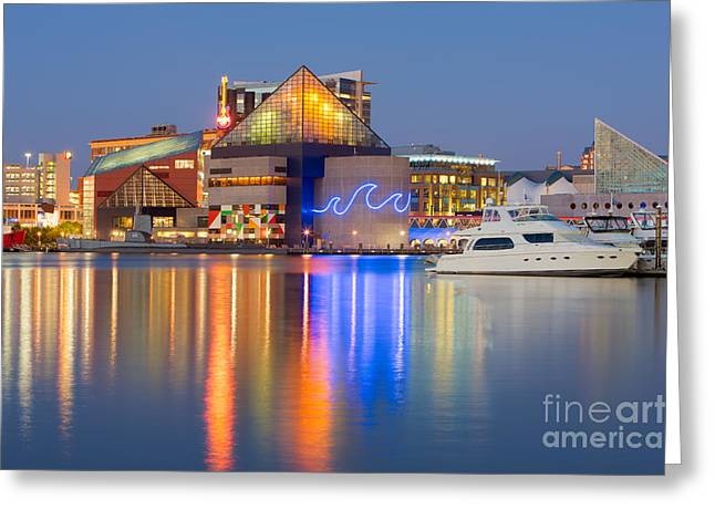 Baltimore National Aquarium At Twilight I Greeting Card by Clarence Holmes