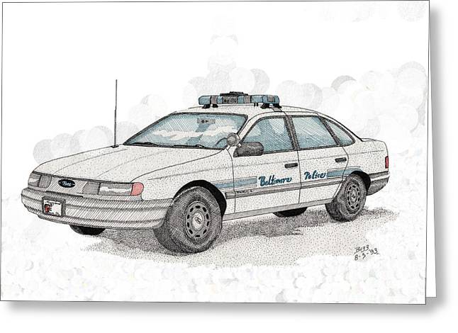 Baltimore Police Car Greeting Card by Calvert Koerber