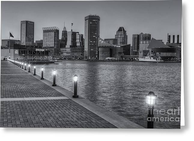 Baltimore Skyline At Twilight II Greeting Card by Clarence Holmes