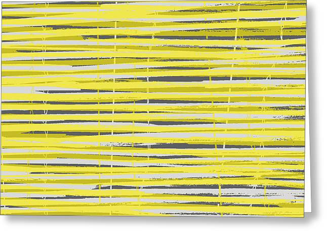 Bamboo Fence - Yellow And Gray Greeting Card by Saya Studios