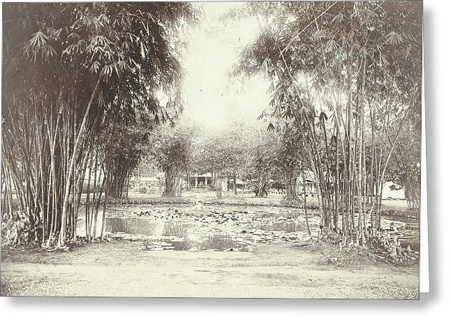 Bamboo Garden And Pond With A House, Anonymous Greeting Card
