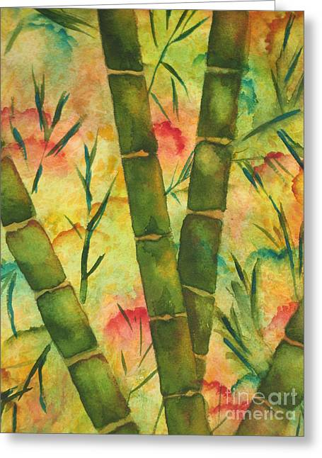Greeting Card featuring the painting Bamboo Garden by Chrisann Ellis