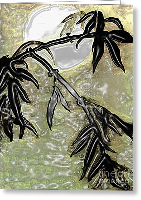 Bamboo In Moonlight - Plasticized    Greeting Card