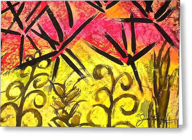 Bamboo In The Wind Greeting Card by Joan Reese