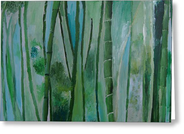 Bamboo Jungle Greeting Card by Jessie Nolan