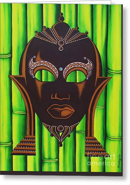 Bamboo Mask Greeting Card by Joseph Sonday