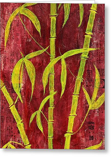 Bamboo On Red Greeting Card