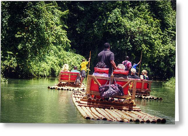 Bamboo River Rafting Greeting Card
