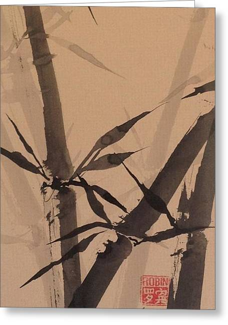 Bamboo Study #1 On Tagboard Greeting Card by Robin Miller-Bookhout