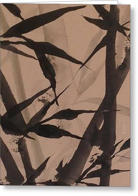 Bamboo Study #2 On Tagboard Greeting Card by Robin Miller-Bookhout