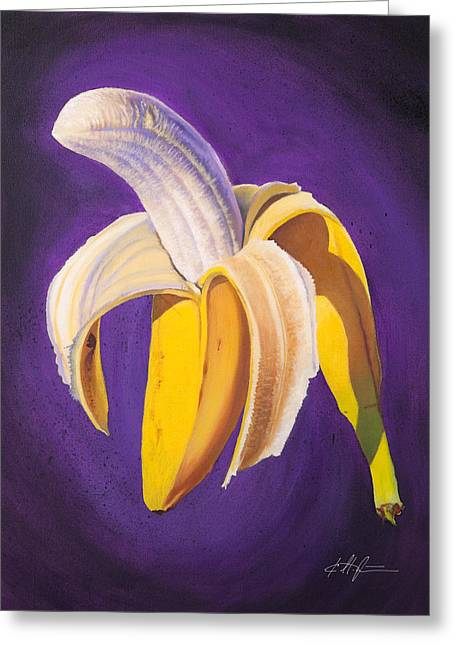 Banana Half Peeled Greeting Card by Karl Melton