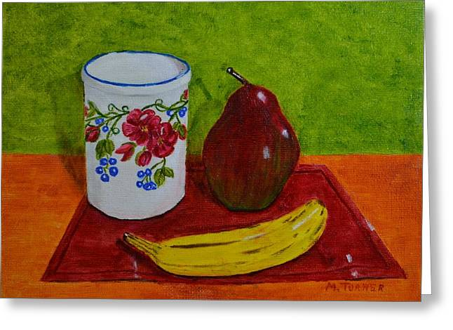 Banana Pear And Vase Greeting Card by Melvin Turner