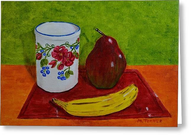 Banana Pear And Vase Greeting Card
