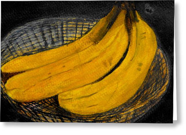 Bananas In Basket Greeting Card by Larry Farris