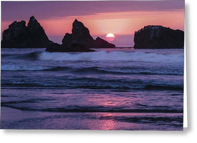 Bandon Beach Sunset Greeting Card by Jean Noren