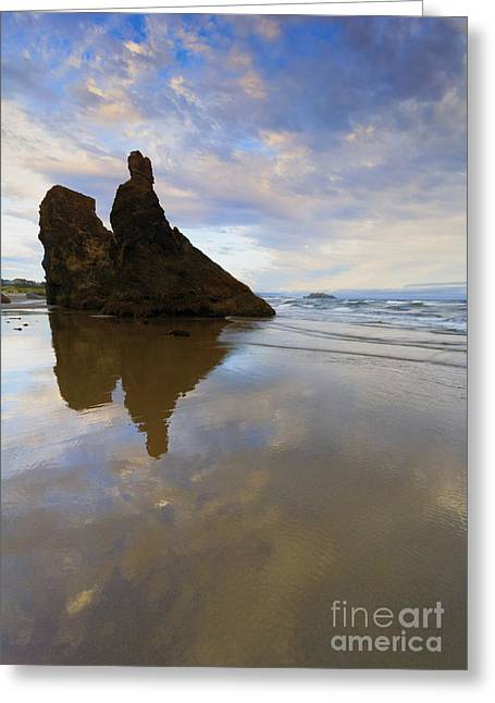 Bandon Stacks Sunset Greeting Card by Mike  Dawson